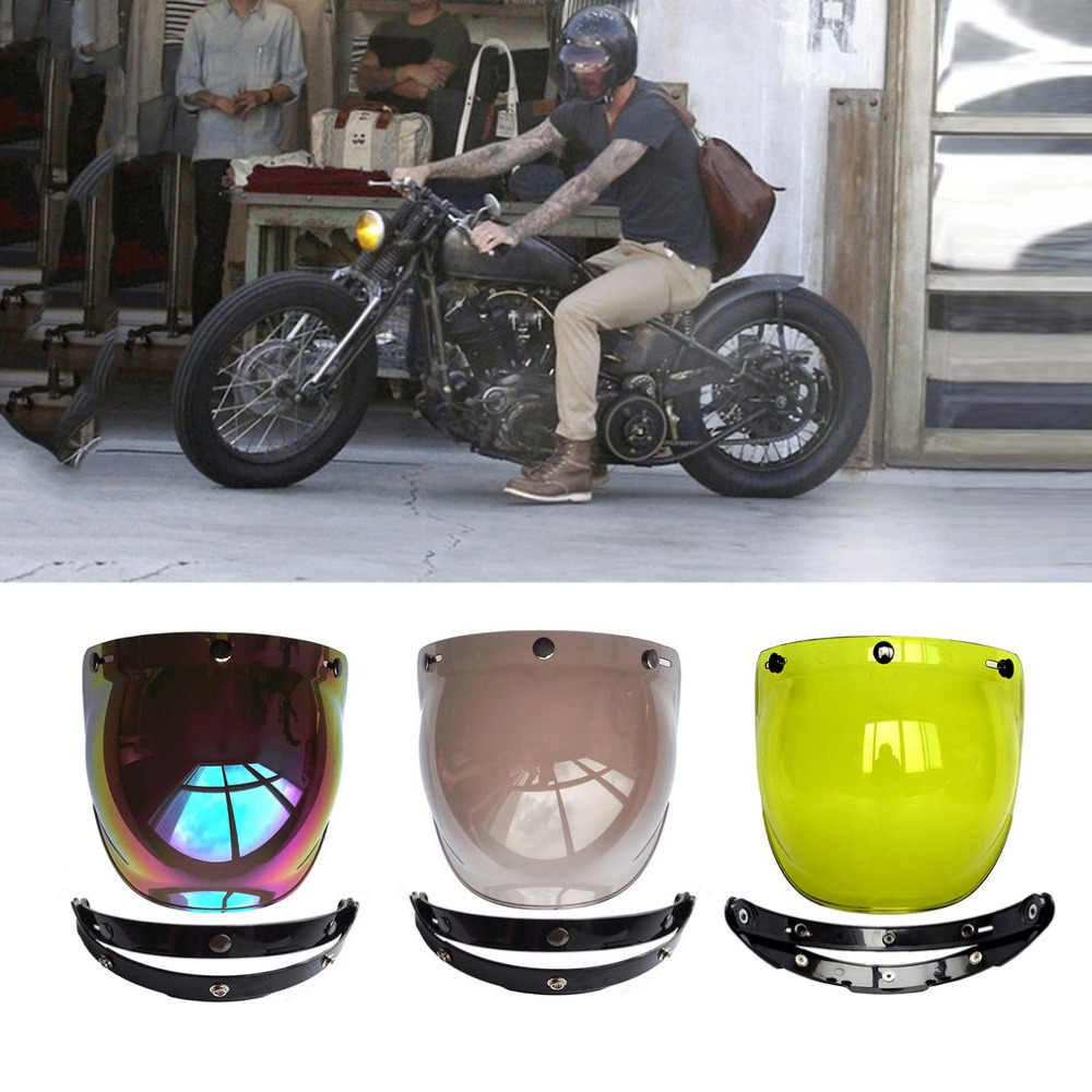 Hotmotorcycle windshield capacete do vintage estilo capacetes 3 snaps jet capacete para estilo bolha viseira uv 400 proteções