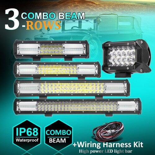 3-Row LED Light Bar Sopt Flood Combo LED Bar 4WD 4x4 SUV Offroad Driving Work Light IP68 Truck Camper+1PCS Wiring Harness Kit