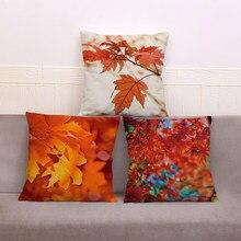 Outono maple leaf capa de almofada para o sofá casa estilo nórdico decoração lance fronha impressão planta floral travesseiro plush 45*45cm