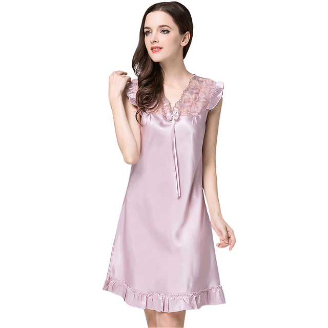 755 2017 Summer New Ladies Sleepwear Nighties Sexy Silk Nightgowns Female  Plus Size Women Nightdress Negligees M-4XL 188fd96fa