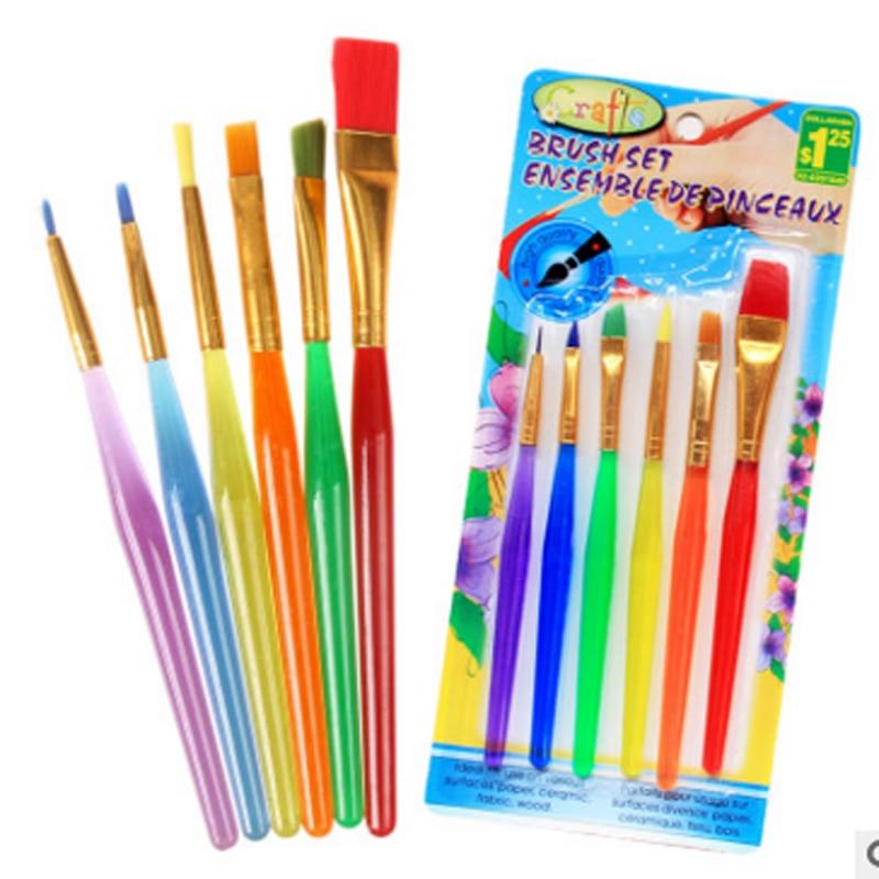 30 teile / los Pinsel Set Neue Nylon Griff Pinsel Kind Pädagogisches Handwerk Spielzeug Aquarell Zeichnung Malerei Kindergarten Handwerk
