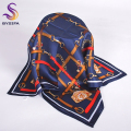 Autumn Navy Blue Pure Silk Scarf For Women Men Fashion Accessories 90*90cm Fine Small Scarves All-Match Red Coffee Chain Scarves