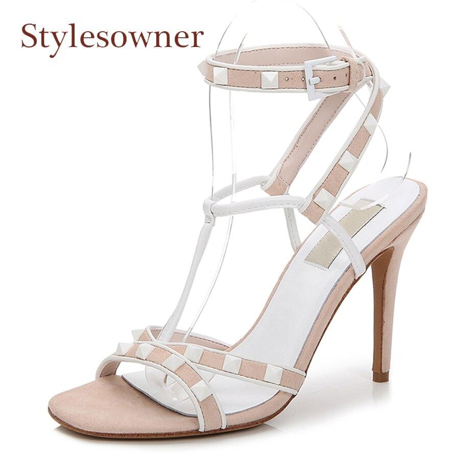 Stylesowner fashion rivet stud t strap buckle women high heel sandals summer shoes sexy open toe stiletto heel ladies party shoe