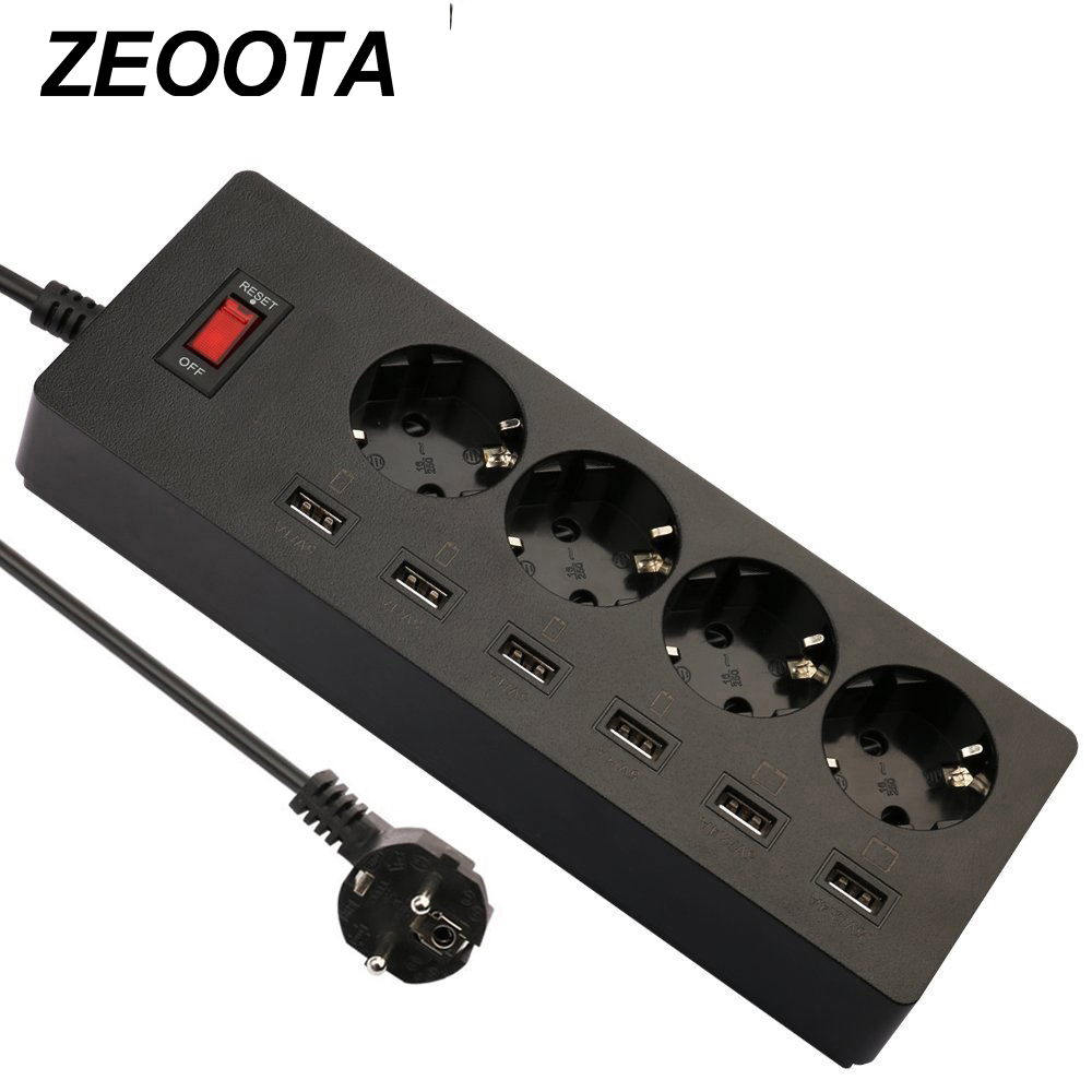 Zeoota 6-USB 4-Outlet AC Power Strip Adapter 1.8M Cable USB Wall Sockets with Switch EU Plug Extension Cord Powercube 2500w 4 outlet ac electric power bar strip w individual switch led indicator ac 250v 3m cord
