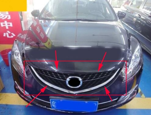 Original ABS Chrome Front Grille Around Trim Racing Grills Trim For Mazda 6 2009-2012 front grille around trim racing grills front bumper trim fit for mazda 3 axela 2014 abs chrome 1pc