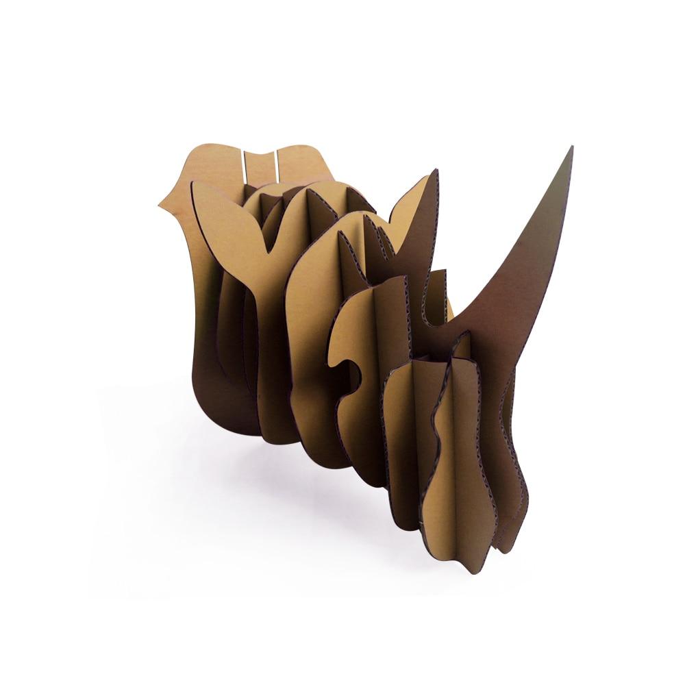 DIY Африка носорог голова животного Бумага головоломки отделка стен Украшение дома Дисплей экологичного картона вечеринок