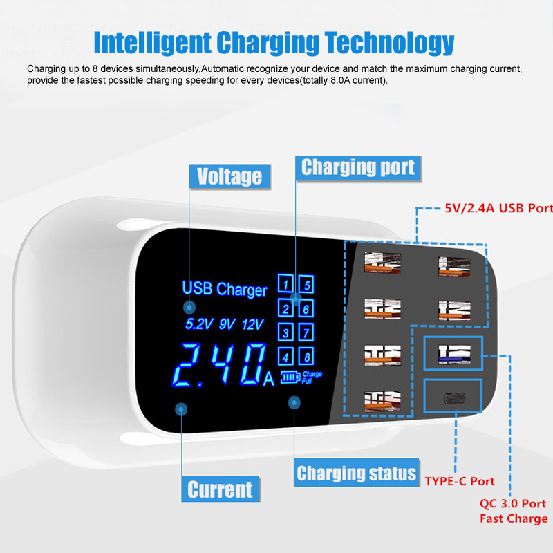 Image 2 - 8 Port USB Fast Charger TYPE C & QC 3.0 Quick Charge Socket Wall Phone Charger for iPhone 5 6 7 8 X Xs XR Samsung S7 S8 S9 Plus-in Mobile Phone Chargers from Cellphones & Telecommunications