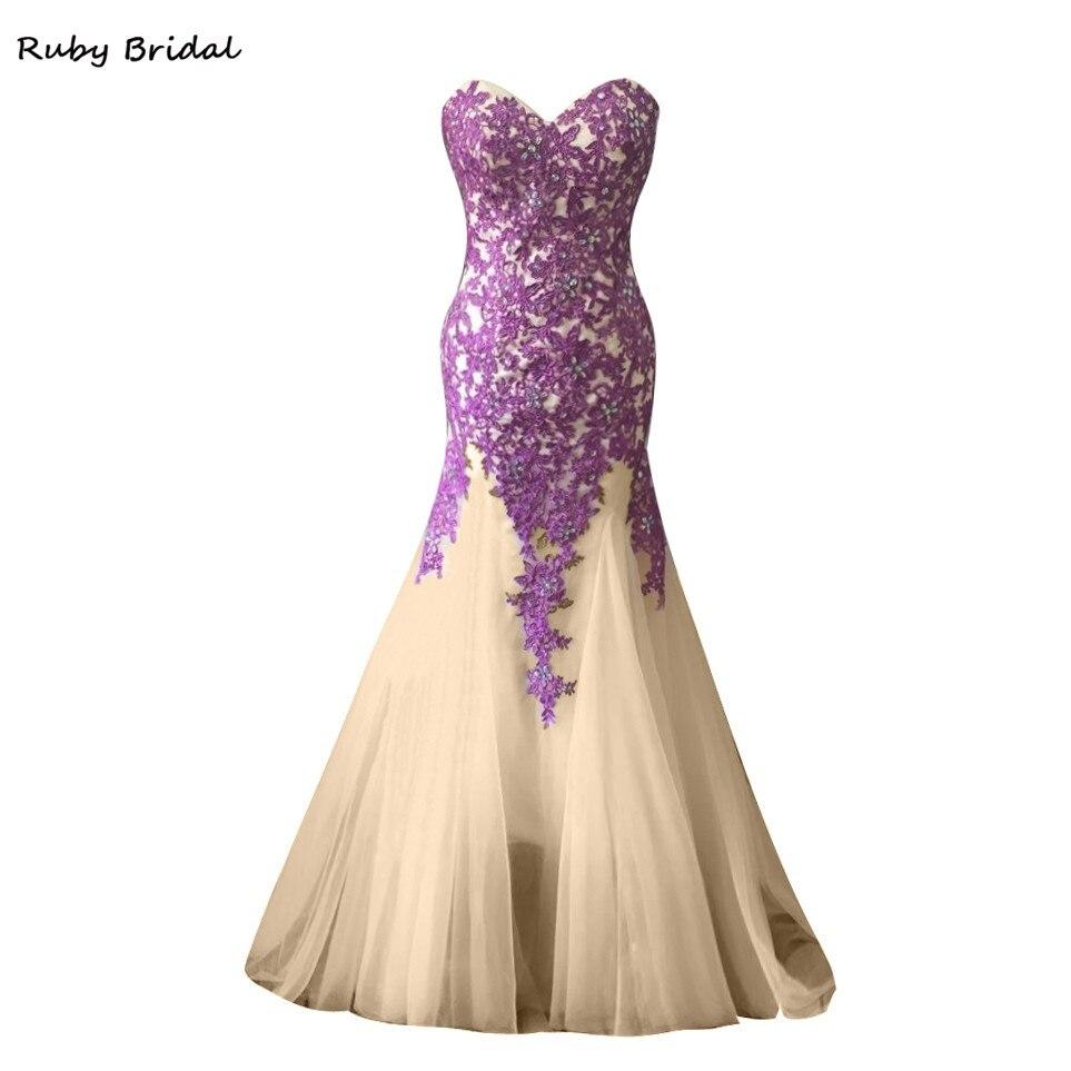9a264a6edc0 Ruby Bridal 2017 Vestido De Festa Long Mermaid Prom Dresses Champagne Tulle  Red Appliques Beaded Luxury