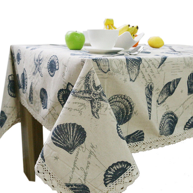 9 Size Sea Style Table Cloth Cotton/ Linen Tablecloth Cover Shell Printed  Rectangular Table Cover