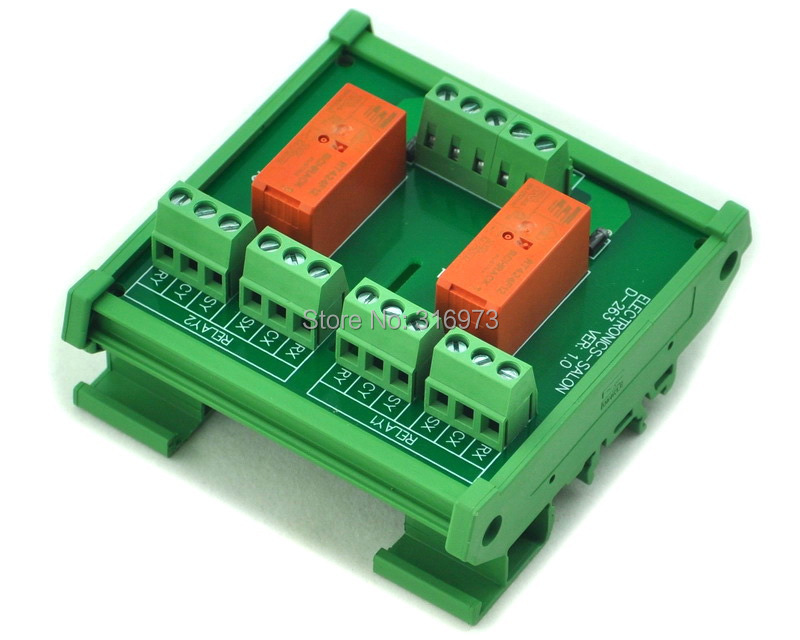 DIN Rail Mount Passive Bistable/Latching 2 DPDT 8A Power Relay Module, 12V Version