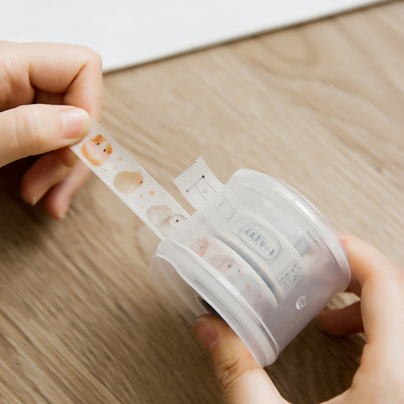 JIANWU Simple Washi Tape Cutter Office Supplies Transparent Tape Holder Diytape Peripheral Tool Kawaii