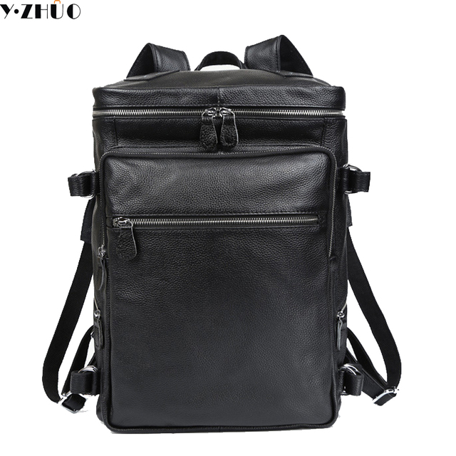 b1d8587d9ea8 genuine leather male backpacks really cowhide big travel duffle bag  business mochila double shoulder bags good quality backpack