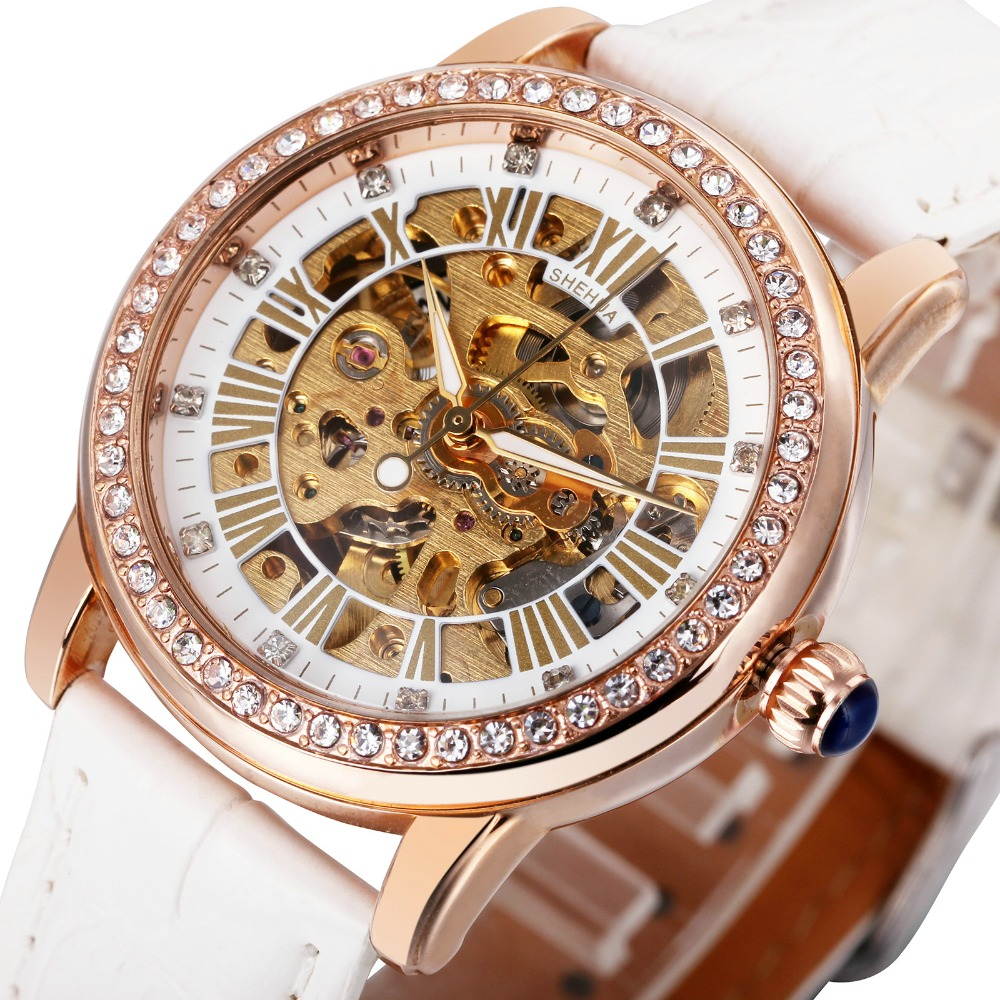 2018 SH Fashion Elegant Women Mechanical Wrist Watches Leather Watchband Female Automatic Clock Crystal Decoration Skeleton Dial
