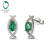 1 41ct Colombian Emerald 14k Gold Pave Diamond Engagement Earrings Studs NEW