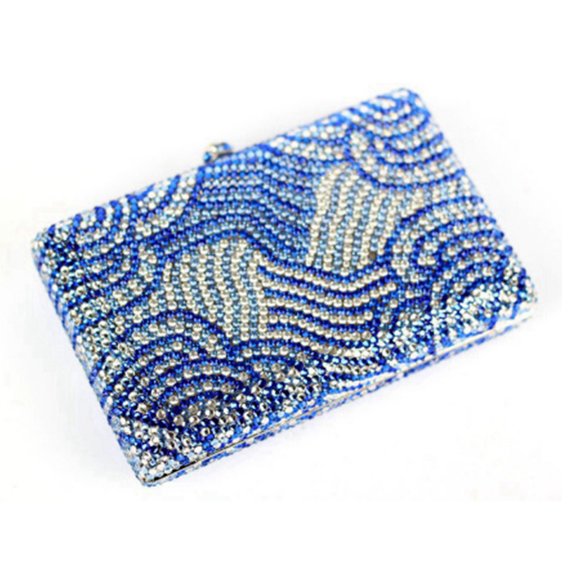 Luxury blue Diamond Evening Bag Rhinestone Clutch Bag Women Small Banquet Hand Bag Wedding Bride crystal Clutch Purse Sac A Main 38mm aluminum motorcycle exhaust muffler for crf150f crf230f 2003 2013 motocross dirt bike enduro supermoto free shipping