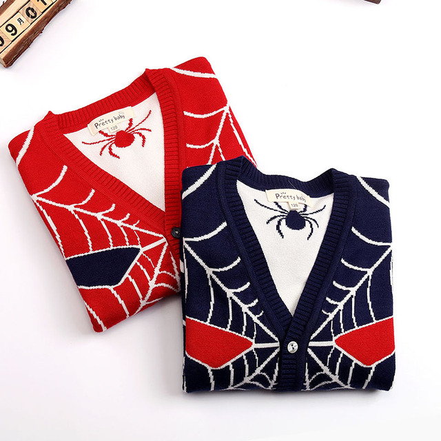 Boys Sweater Casual Kids Spiderman V-collar Outerwear Children Double Thicking Cotton Knit Sweater Baby Cardigan Cartoon Jacket