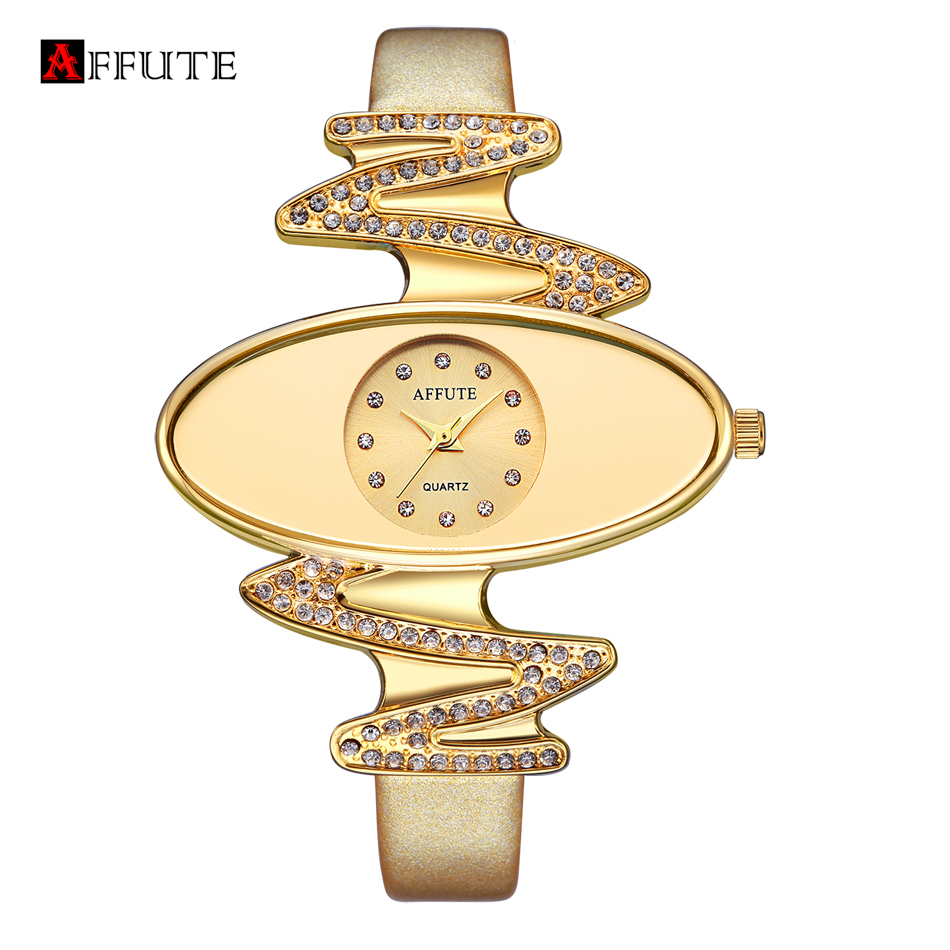 AFFUTE Ladies Fashion Quartz Watch for Women Rhinestone Wristwatch Leather Casual Dress Watches Gold reloje mujer montre femme funique fashion gold dial women leather watches casual tree pattern dress quartz wristwatch for girls clock hour montre femme