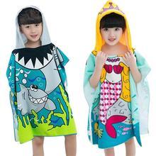 Shark Pattern Gyermekek Strand Köpeny Törölköző Rajzfilm Kapucnis Fiúk Lány Baby Bath Uszodaló Törölköző Baba Mosható Ragasztó Gyerekeknek