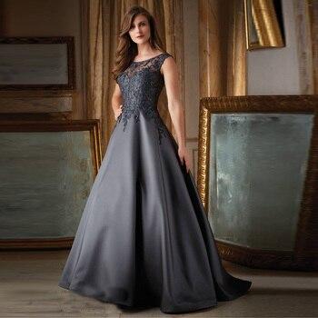 Vestido Mae Da Noiva Fashioned Scoop Appliques Custom Gray Satin Ball Gown Mother of the Bride Dresses 2019