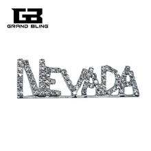 USA States Theme Gift Bling Rhinestone NEVADA State Word Pin Crystal Brooch Jewelry