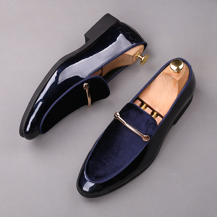2018 men slip on formal shoes soft leather +black blue cotton Oxfords Dress wedding wingtip Brish style Loafers shoes 49