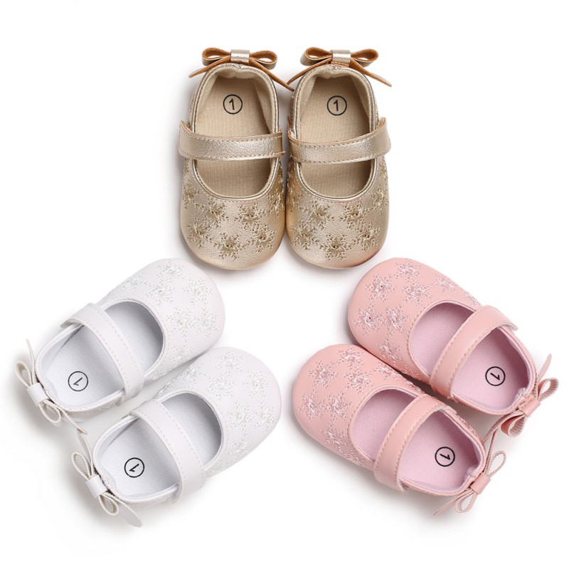 2018 Spring Autumn Baby Girl Cute Bow Embroider Flowers First Walkers Non-slip Soft Bottom Baby Princess Shoes