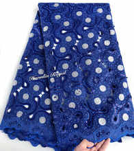 Aqua peach Organza Handcut African lace fabric with lots of sequins 5 yards big party Nigerian garment sewing clothes