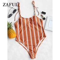 ZAFUL One Piece Suit Striped High Leg Swimsuit 2018 New Women Swimwear Spaghetti Straps Padded Cami