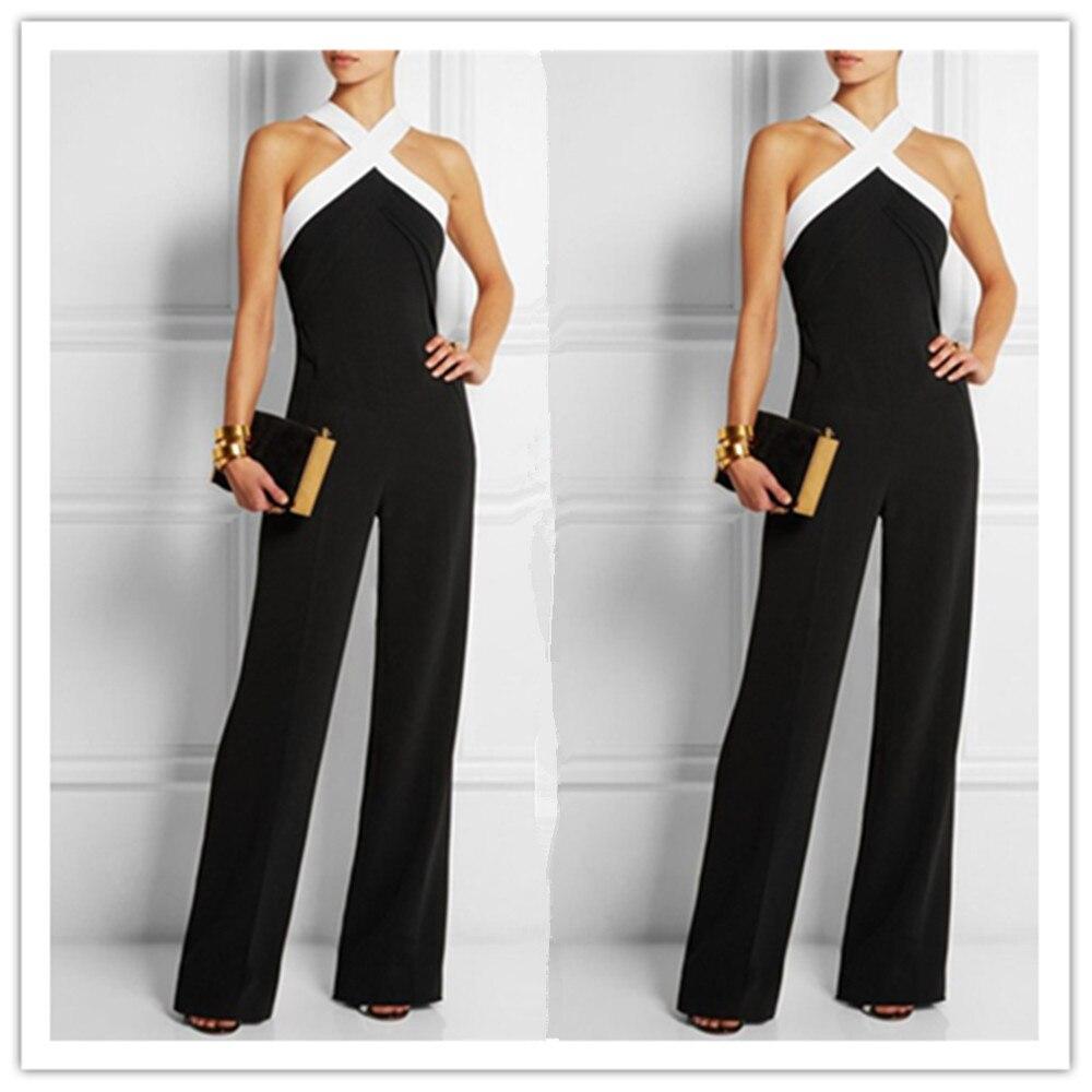 Rompers Womens Jumpsuit 2017 Hot Black White Splicing Playsuits Wide Leg Halter Ladies Elegant Plus Size XXXL Bodysuits