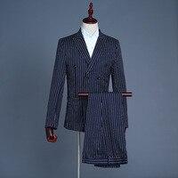 Men's Suit Stage Green Vest Three piece Coat Pant Vest Men Dress Suits Set Straight England Style Mens Suits