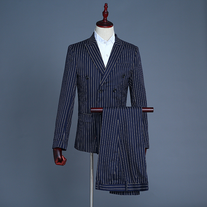 Simple Formal Suits Men 2019 Long Sleeve Dress Mens Casual Prom Blue Stripes Suit Slim Fit Clothing Three Piece Set Coat Pants
