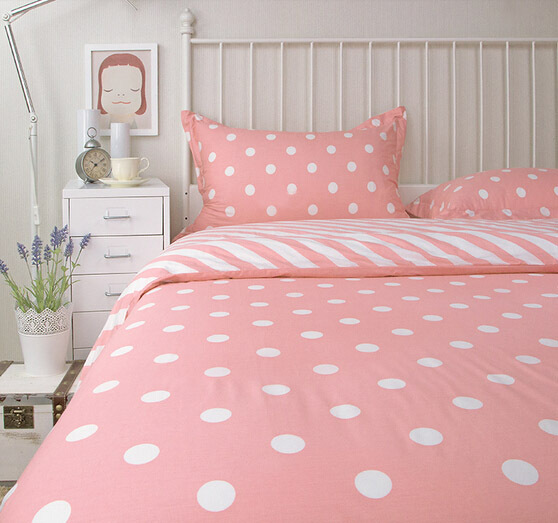 Cute pink polka dot bedding sets full queen king size cotton teens kids modern bed clothes - Bedspreads for teenagers ...