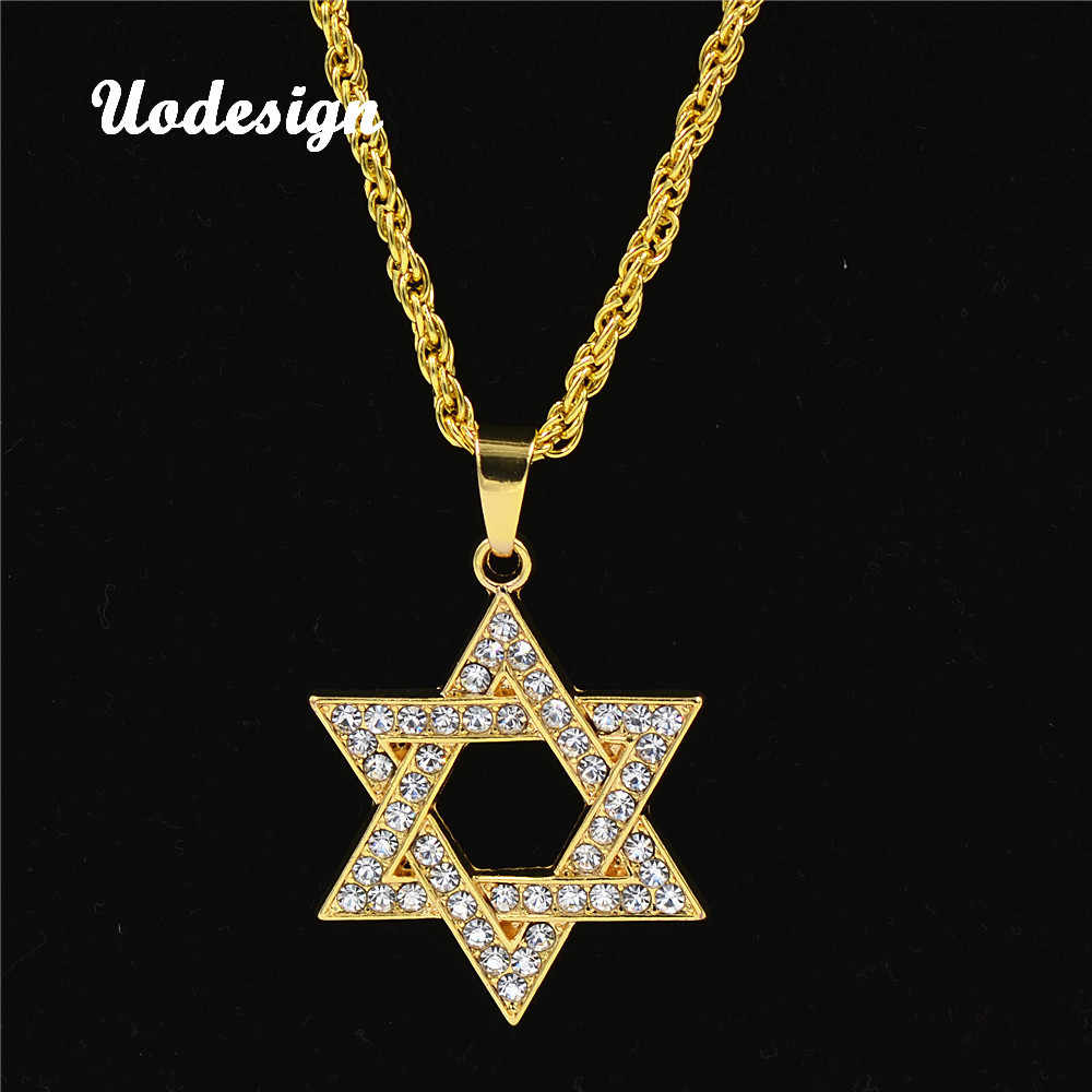 Uodesign Punk Hip Hop Vintage Crystal Alloy Chain Necklace Star Of David Pendants Chain Necklace jewelry for men