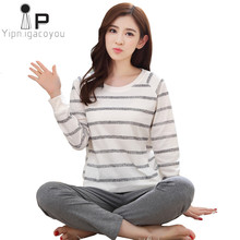 Pajamas Women Set Long sleeve Night suit Ladies autumn 2019 Korean Plus size Cotton Pink Home Clothes Winter Nightwear Sleepwear