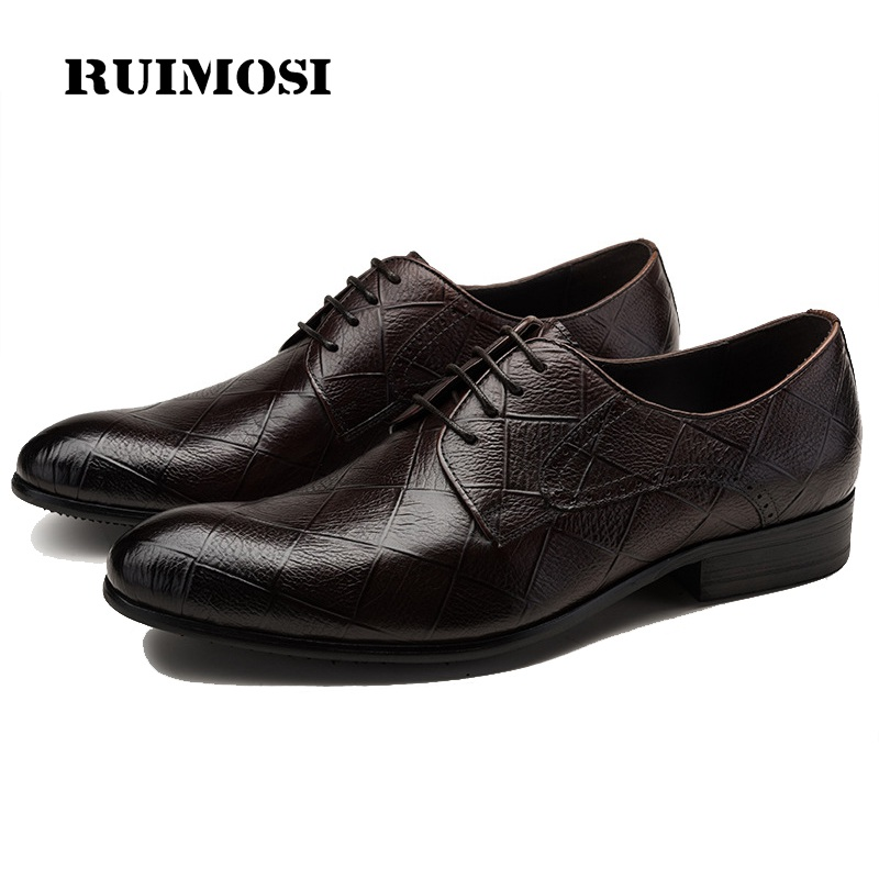 RUIMOSI New Arrival Formal Man Bridal Dress Flats Shoes Genuine Leather Male Oxfords Brand Round Toe Derby Men's Footwear VK94