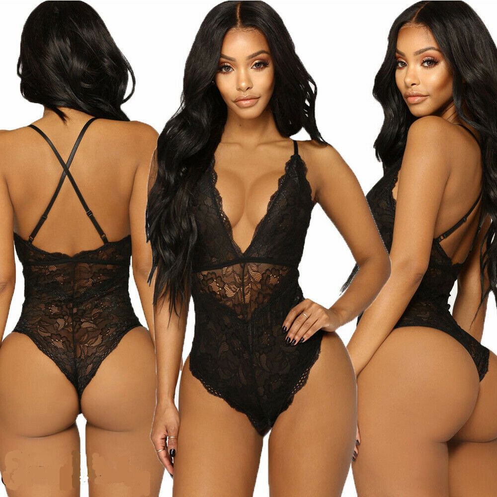 Womens Lace Leotard Tops Jumpsuit Sleeveless Backless Stretch Bodysuit