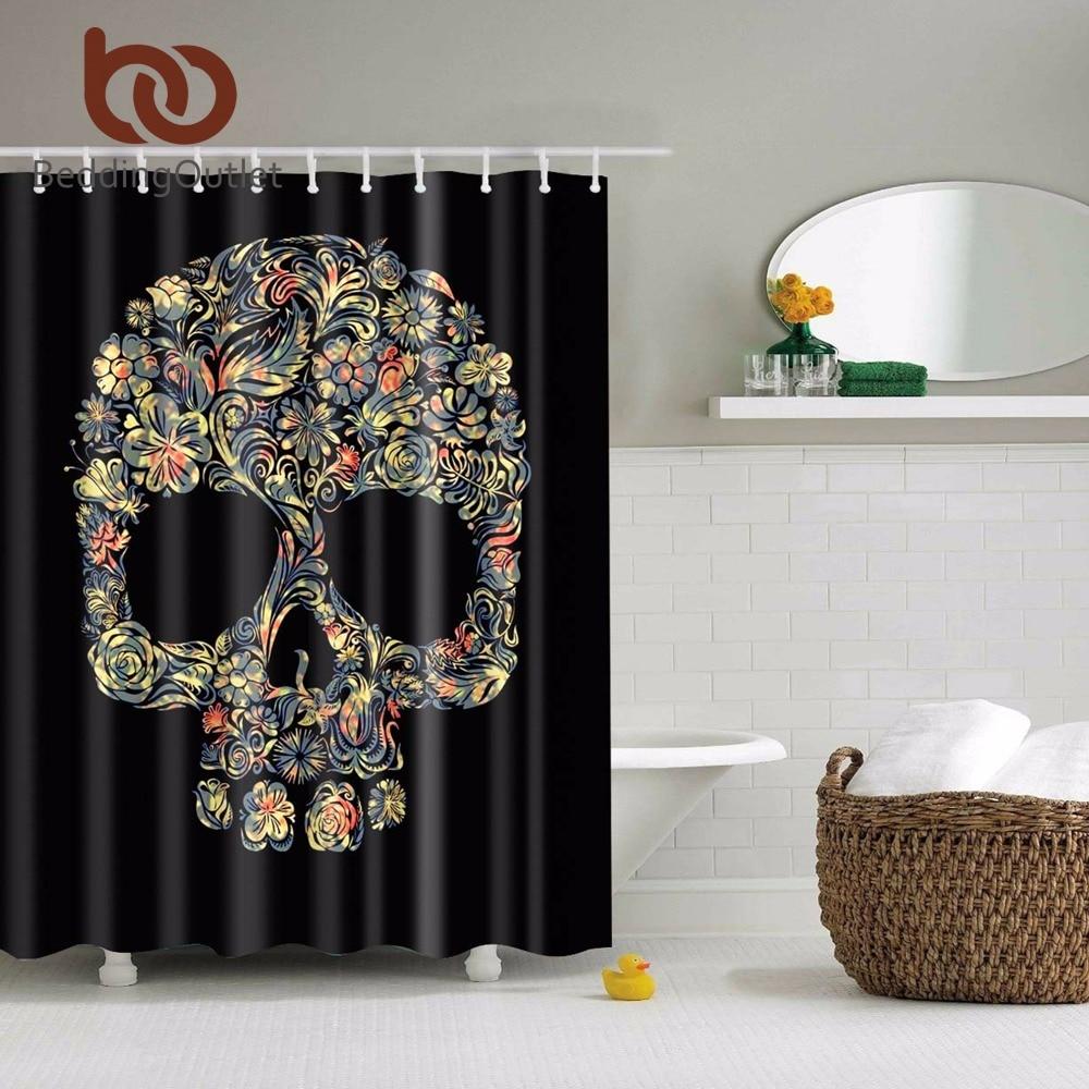 Buy beddingoutlet sugar skull shower for Bathroom floral decor