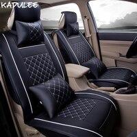 KADULEE pu leather car seat covers set for fiat albea opel corsa d vw touareg mazda 626 toyota vitz prius car seats protector
