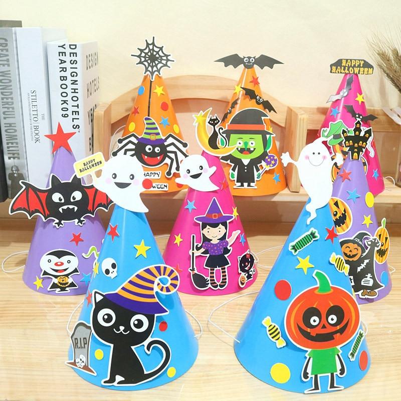 Kids DIY Halloween Party Hat Pumpkin Witch Happy Halloween Caps For Children Halloween Costume Cosplay Dress Up Decorations