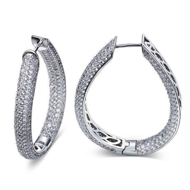 TT Fashion U Shape Rhodium Plated AAA Cubic Zirconia Micro Pave Setting Fashion Hoop Earrings Lead Free Nickel Free
