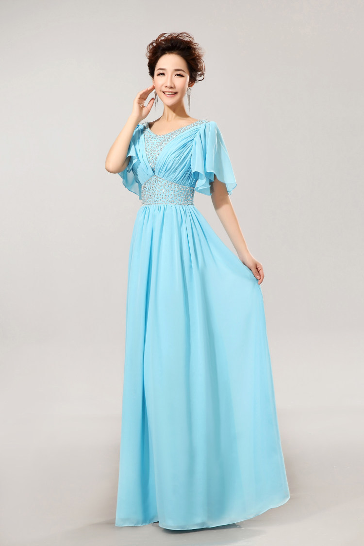 Modest bridesmaid dress with sleeves v neck beading sky blue modest bridesmaid dress with sleeves v neck beading sky blue bridesmaid dresses formal chiffon cheap bridesmaid dresses under 50 in bridesmaid dresses from ombrellifo Choice Image
