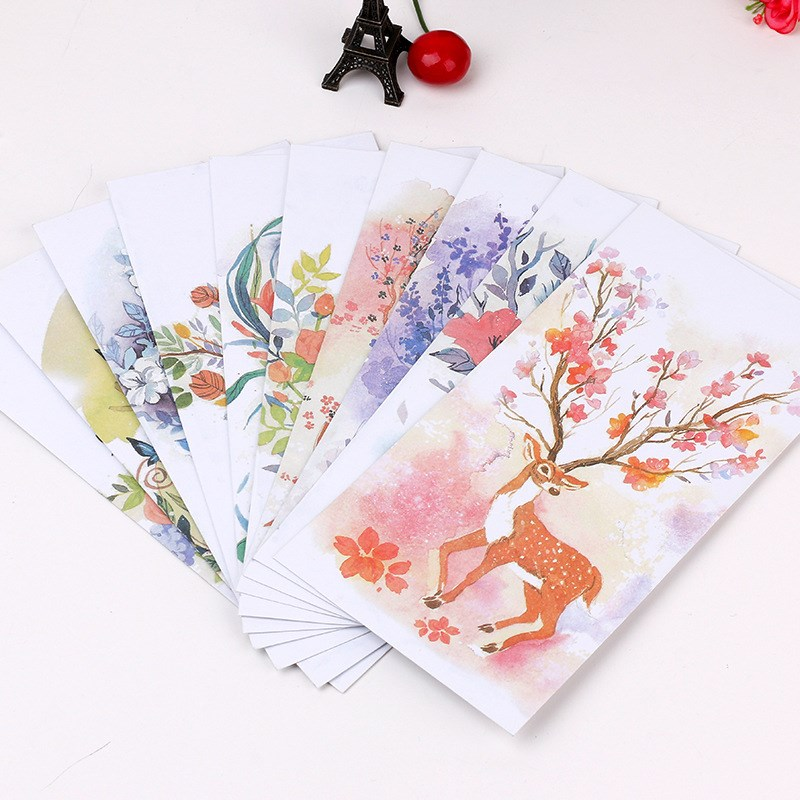 5 Pcs Cute Forest Deer Envelope Postcards Greeting Card Cover Paper Envelopes Gift Envelope Stationery School Supplies