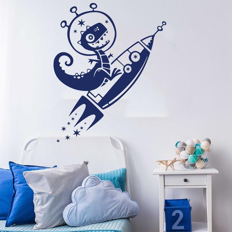 Cartoon Dinosaur Rocket Decal Dino Space Star Wall Decal Sticker Vinyl Children Bedroom Living Room Wall Decoration F883