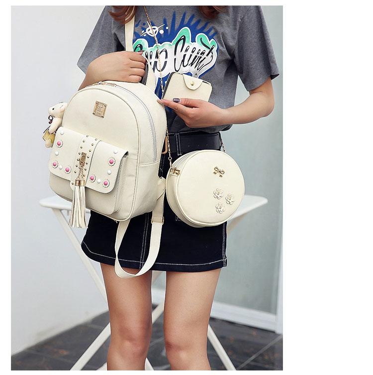 Backpack Female 3 Piece Combination Composite Bag Bear Hanging Inlaid Imitation Diamond Tassel Fashion Casual Shoulder Bag 58