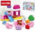 HUIMEI 59 ШТ. Оригинальный Розовый Девушка Замок Парк Развлечений Слайд Диван Принцесса Блок Детские Игрушки, Совместимые с Duplo Legoe Подарок