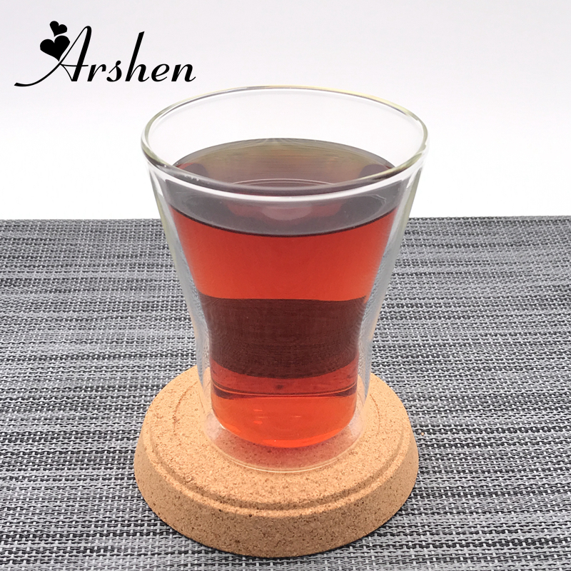 Arshen 250ml Double Wall Glass Handmade Coffee Mug Kitchen Temperature Resistant Juice Water Milk Mugs Home Office Cups New