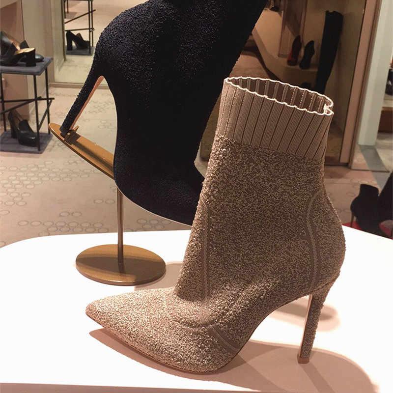 Slim Fit kadın yarım çizmeler sivri burun streç kumaş örgü çorap çizme yüksek topuk ayakkabı kadın sevgililer ayakkabı kadın pompaları