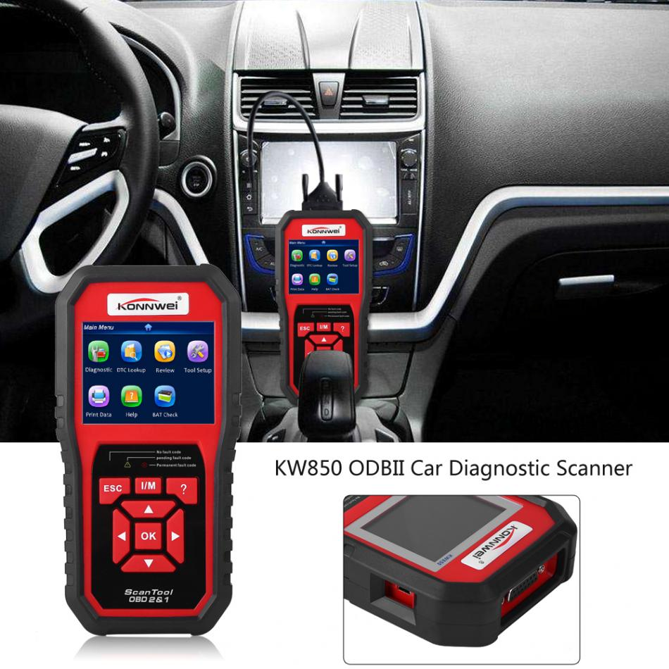 KONNWEI KW850 OBDII OBD2 EOBD Car Auto Diagnostic Scanner Tool Fault Code Reader Full OBD 2 Scanner Supports Multi-languages 2017 xtuner x500 bluetooth auto obdii code reader scanner works on andriod windows x500 obd2 car diagnostic tool free shipping