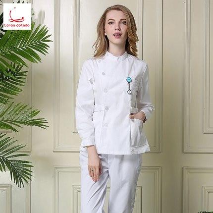 Nurses wear separate suits winter long sleeve dental dental costume doctors wear white coats in Nurse Uniform from Novelty Special Use