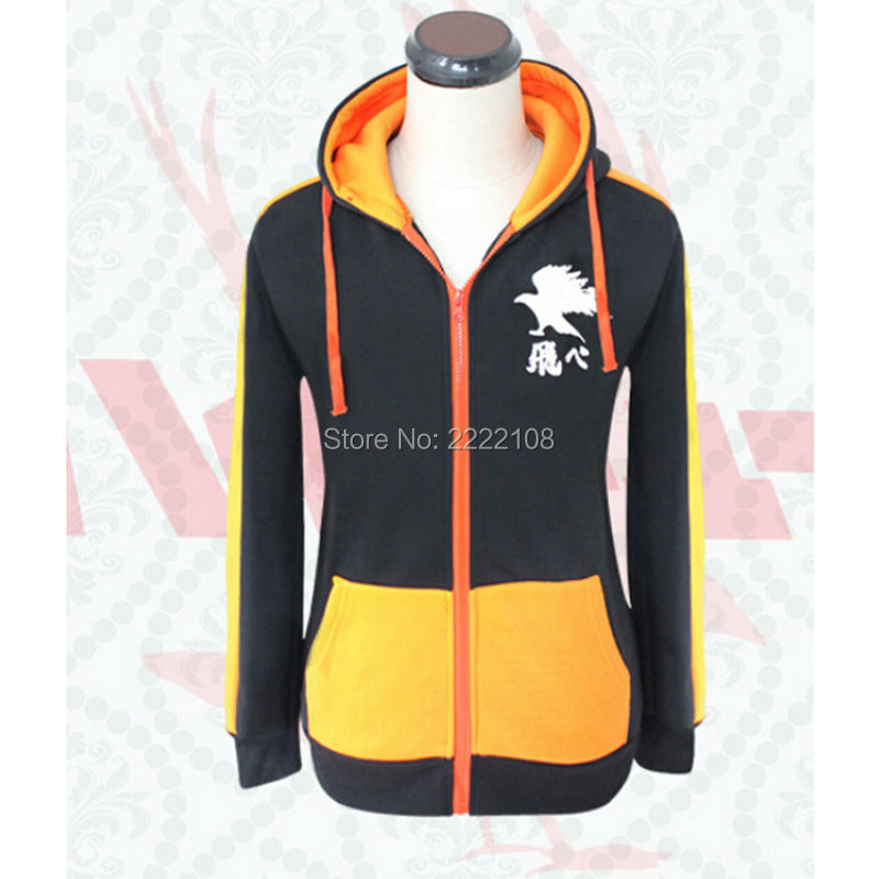 Cheap Haikyuu Karasuno High School Volleyball Cosplay Hoodie Great Sweatshirt Coat New Unisex Jackets Cosplay Halloween Costumes
